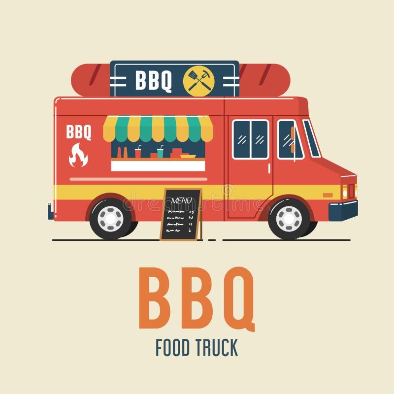 Camion de nourriture de barbecue illustration libre de droits