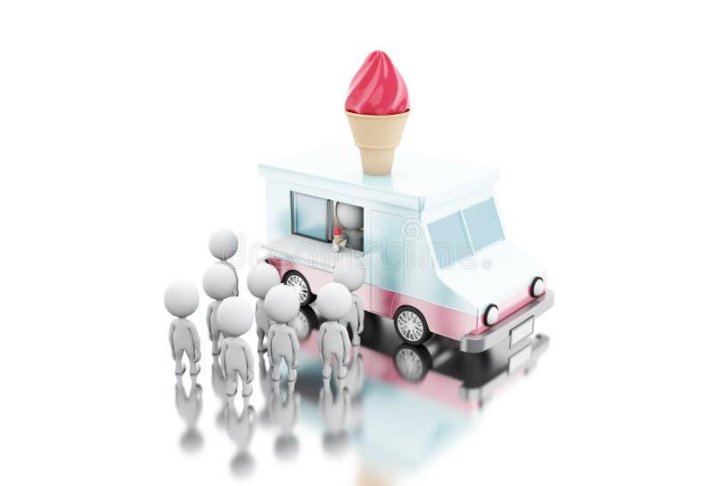 camion de nourriture de crème glacée 3d avec des personnes de race blanche attendant dans la ligne illustration de vecteur