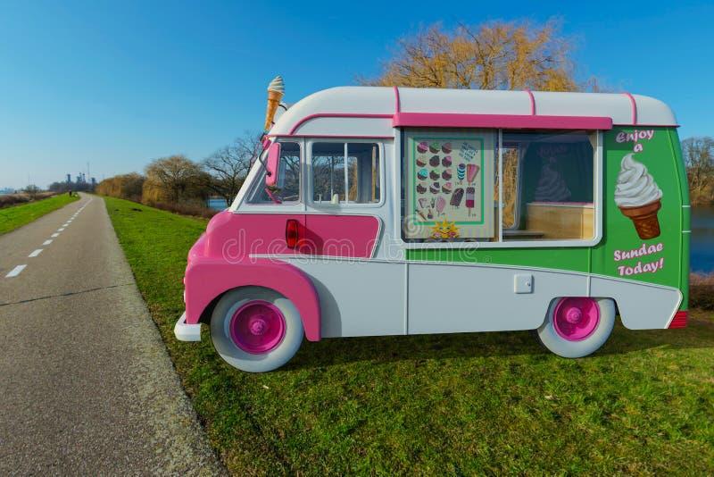 Camion de nourriture de crème glacée  illustration de vecteur