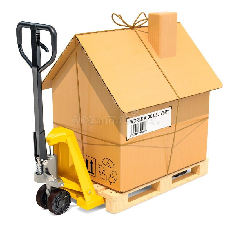 Camion de palette hydraulique de main avec le colis de maison de carton Residen illustration de vecteur