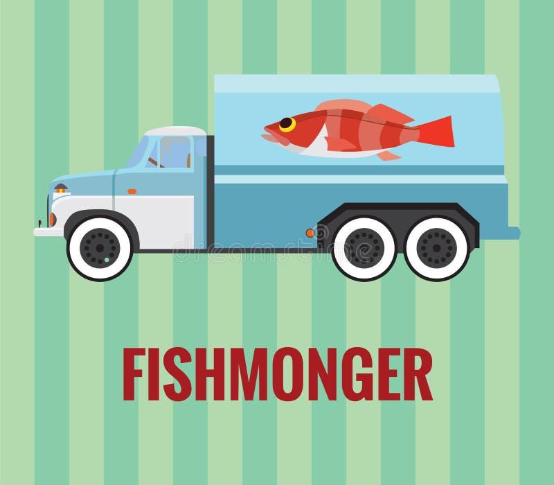 Camion de poissonnier - dessin de vecteur photo libre de droits