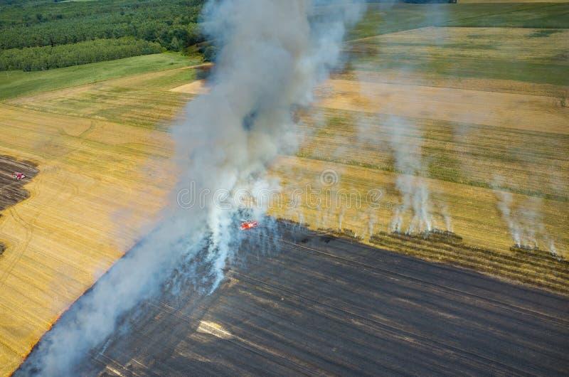 Camion de pompier travaillant au champ sur le feu image libre de droits