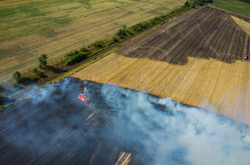 Camion de pompier travaillant au champ sur le feu photographie stock libre de droits