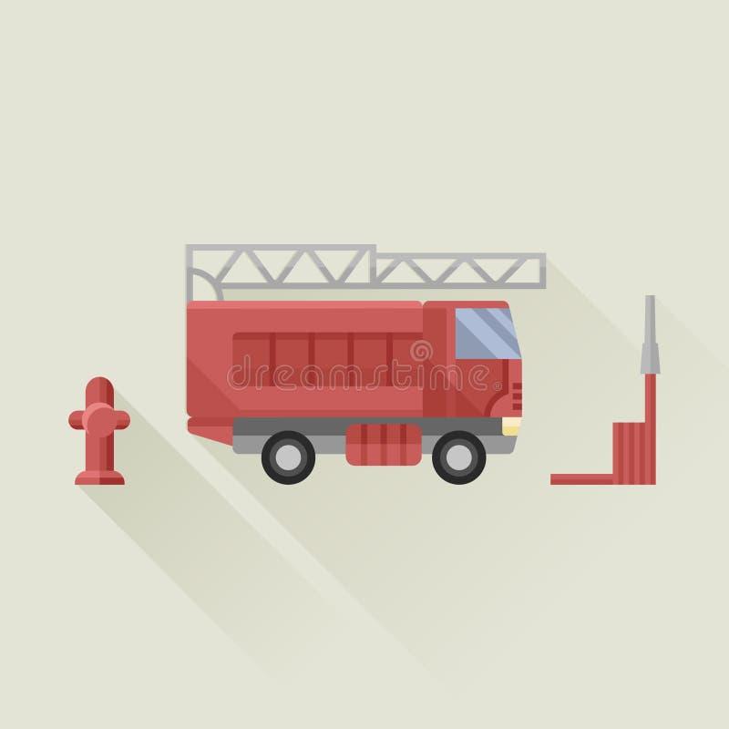 Camion de pompiers avec le styl plat d'icône de vecteur de tuyau d'incendie et de bouche d'incendie illustration de vecteur