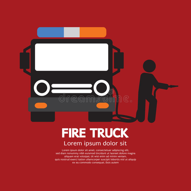 Camion de pompiers avec un homme illustration stock