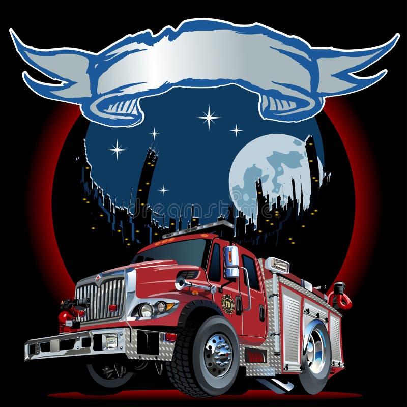 Camion de pompiers de bande dessinée de vecteur illustration de vecteur