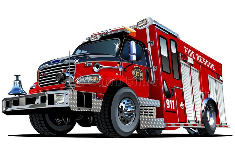 Camion de pompiers de bande dessinée de vecteur illustration libre de droits
