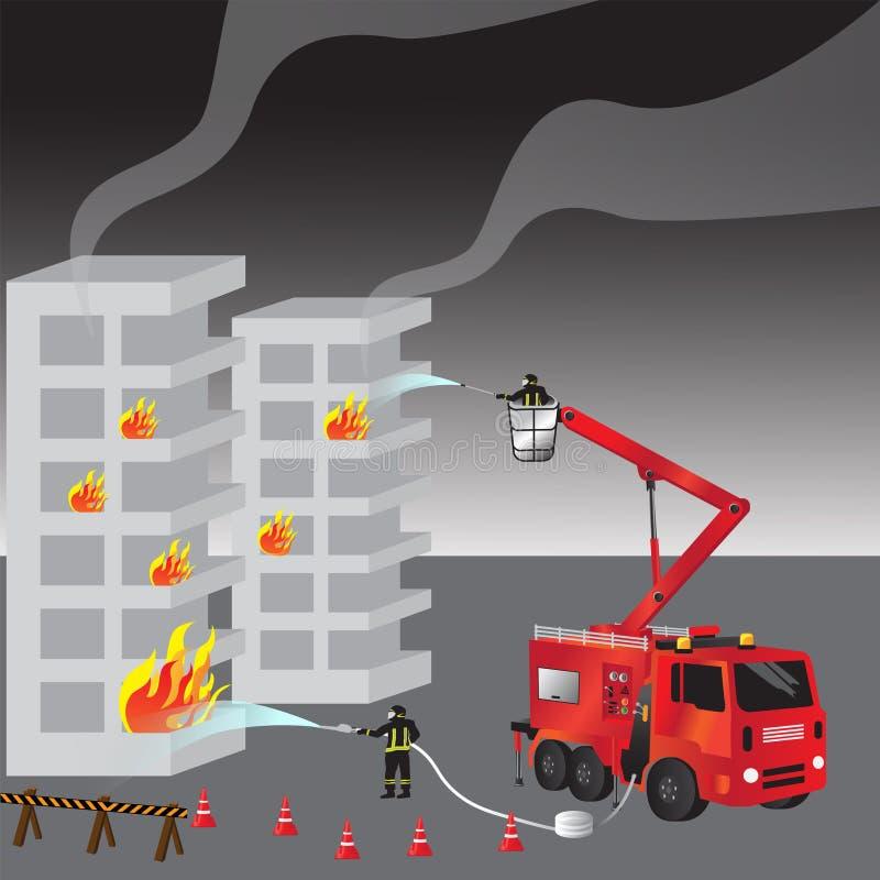 Camion de pompiers et pompier rouges dans l'uniforme sapeurs-pompiers Les sapeurs-pompiers et l'équipe sauvetage Illustration de  illustration libre de droits