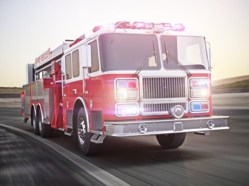 Camion de pompiers fonctionnant avec des lumières et des sirènes sur une rue avec la tache floue de mouvement illustration libre de droits
