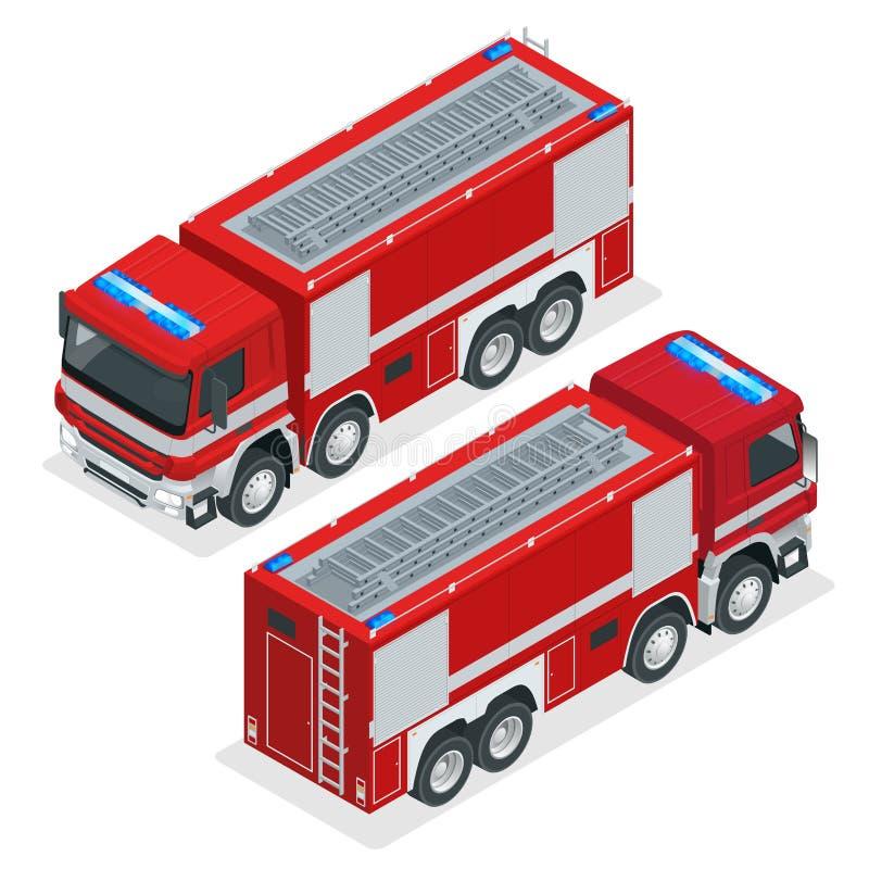 Camion de pompiers rouge isométrique, véhicule de l'urgence Les sapeurs-pompiers conçoivent l'élément Illustration de vecteur sur illustration libre de droits