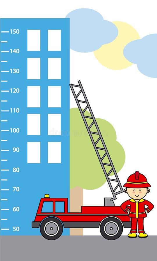 Camion de pompiers sur la précipitation illustration stock
