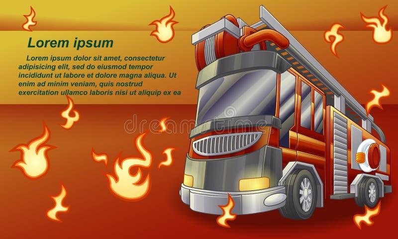 Camion de pompiers sur le fond orange illustration de vecteur