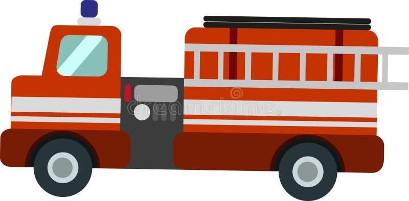 Camion de pompiers de vecteur sur le Blackground blanc illustration libre de droits