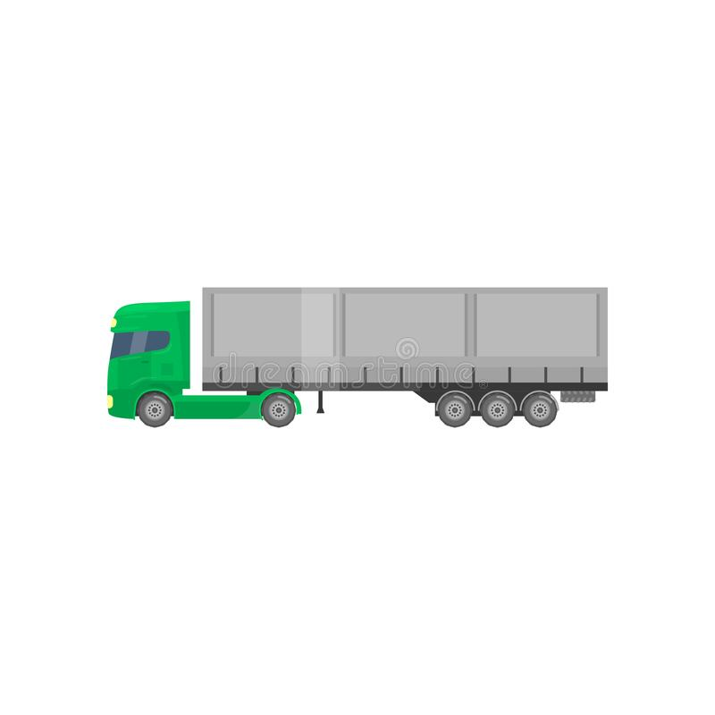 Camion de remorque de cargaison, transports maritimes et transport, illustration de vecteur de vue de côté illustration stock