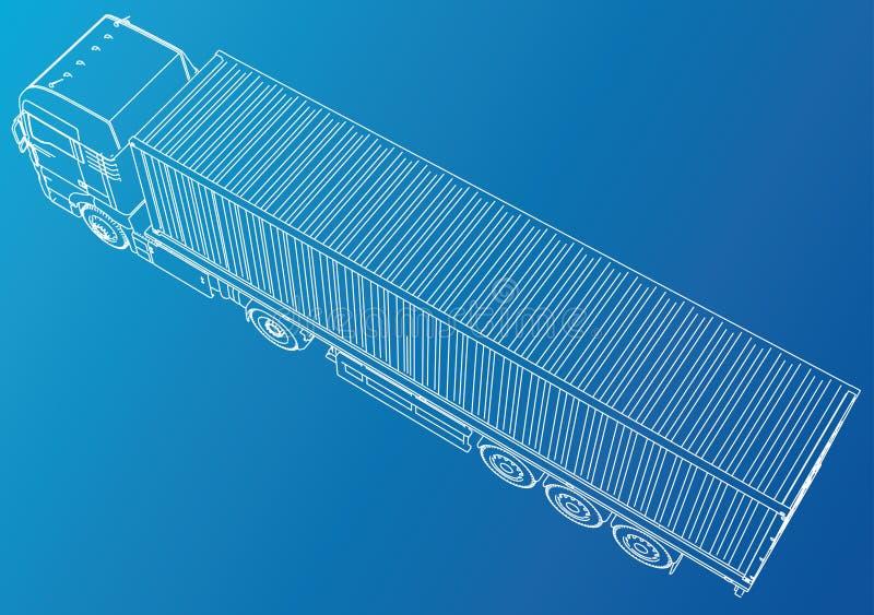Camion de remorque Retrait abstrait Illustration de découverte de 3d illustration stock