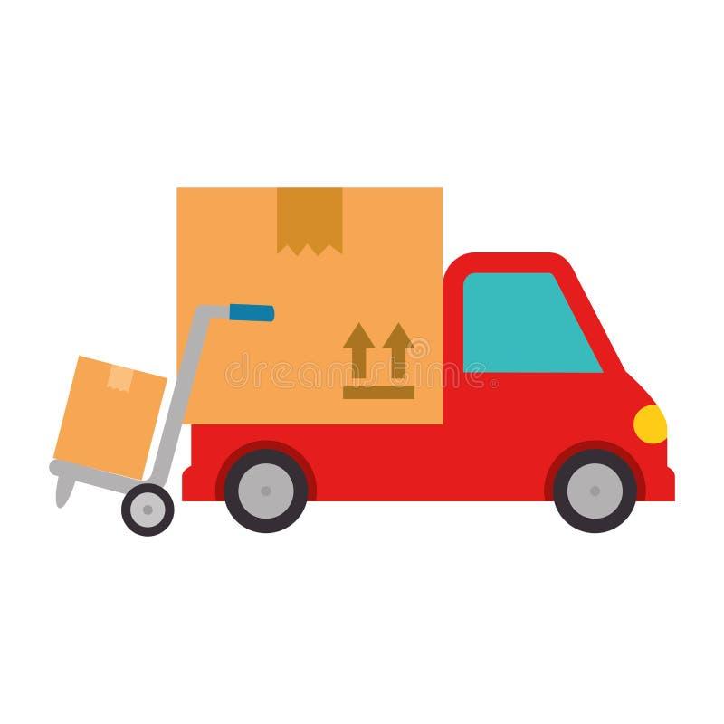 Camion de service de distribution avec le chariot illustration libre de droits