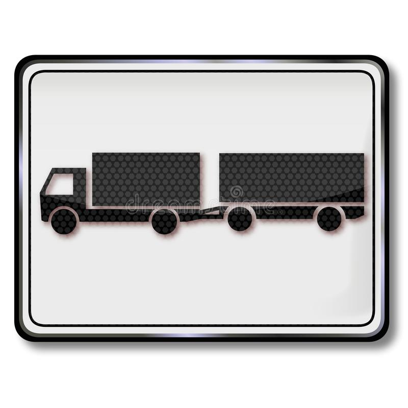 Camion de signe avec la remorque illustration stock