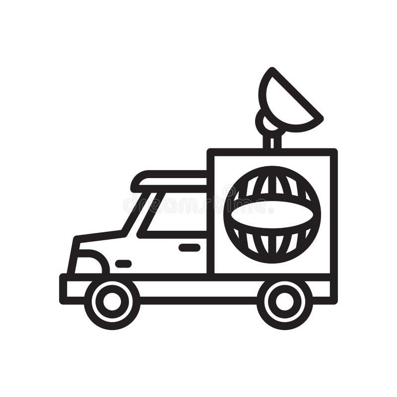Camion de société de médias avec le signe et le symbole satellites de vecteur d'icône d'isolement sur le fond blanc, camion de so illustration de vecteur