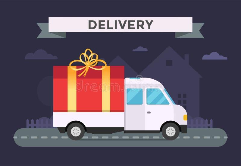 Camion de transport de vecteur de la livraison, fourgon avec le boîte-cadeau illustration de vecteur
