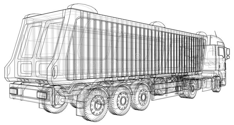 Camion de verseur sur le fond transparent, le transport de logistique et les affaires industrielles de transport de fret de carga illustration libre de droits