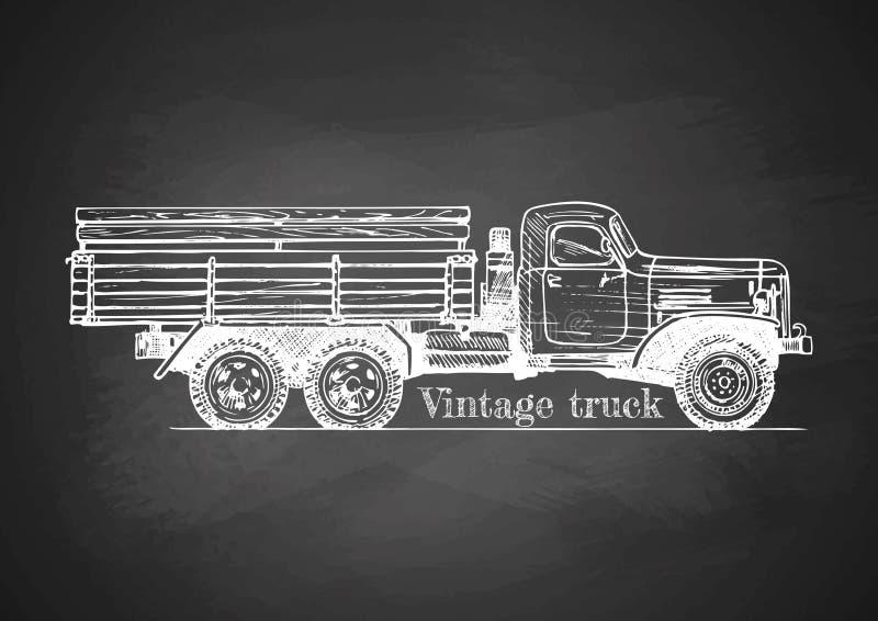 Camion de vintage sur le tableau noir illustration de vecteur