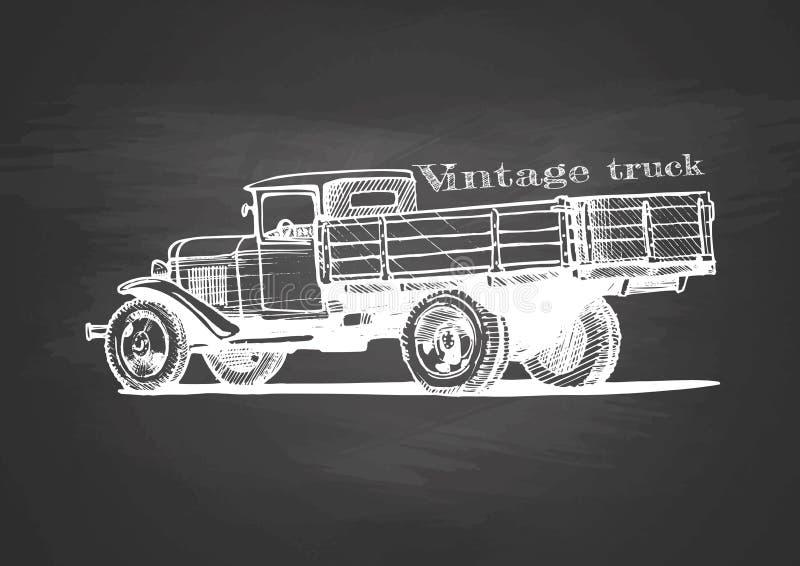 Camion de vintage sur le tableau noir illustration stock