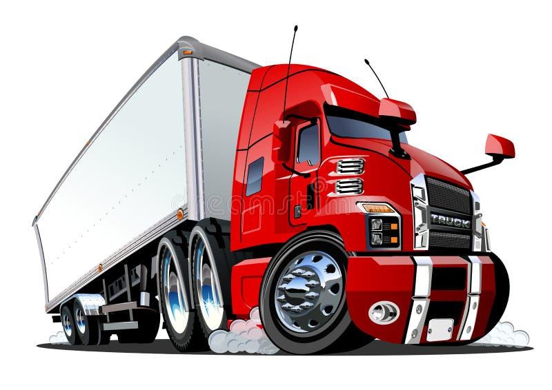 Camion dei semi del carico del fumetto isolato su fondo bianco illustrazione di stock