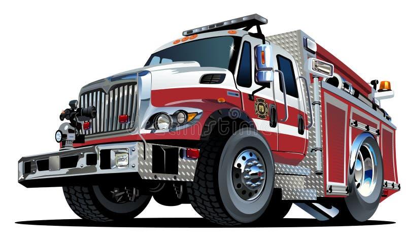 Camion dei vigili del fuoco del fumetto di vettore illustrazione vettoriale