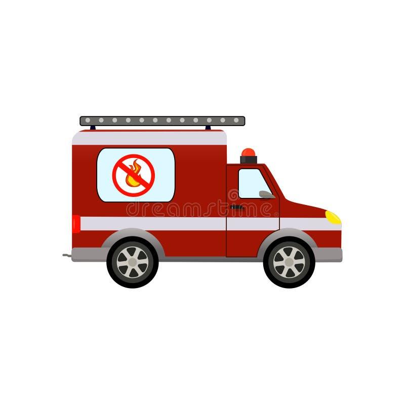 Camion dei vigili del fuoco rosso su fondo bianco Illustrazione di vettore fotografia stock libera da diritti
