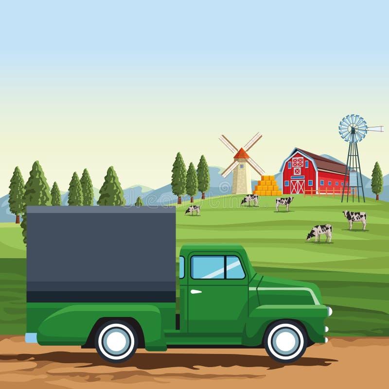 Camion del carico dell'azienda agricola illustrazione vettoriale