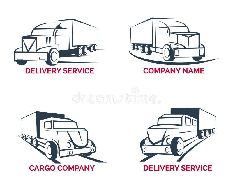 Camion del carico e vettore di logo di servizio di distribuzione royalty illustrazione gratis