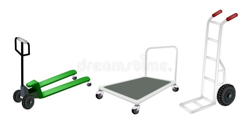Camion del carrello a mano, del carrello e di pallet su Backgr bianco illustrazione di stock