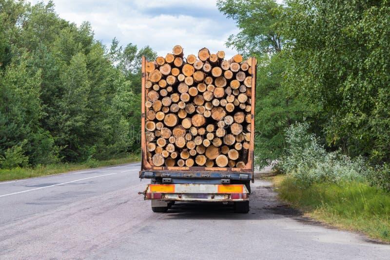 Camion del legname con i giri di una foresta sulla strada principale con carico fotografia stock