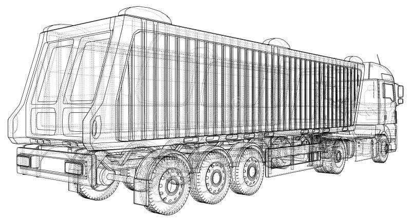 Camion del ribaltatore su fondo trasparente, sul trasporto di logistica e sull'affare industriale di trasporto di merci del caric royalty illustrazione gratis