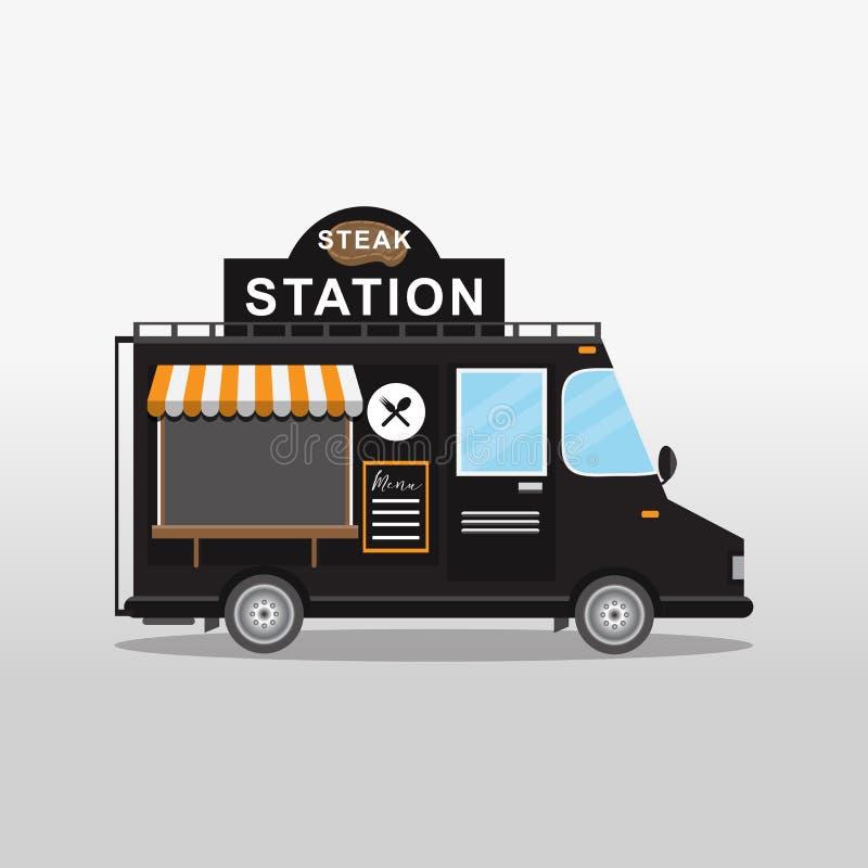 Camion dell'alimento della bistecca Festival degli alimenti a rapida preparazione e della via illustrazione di stock
