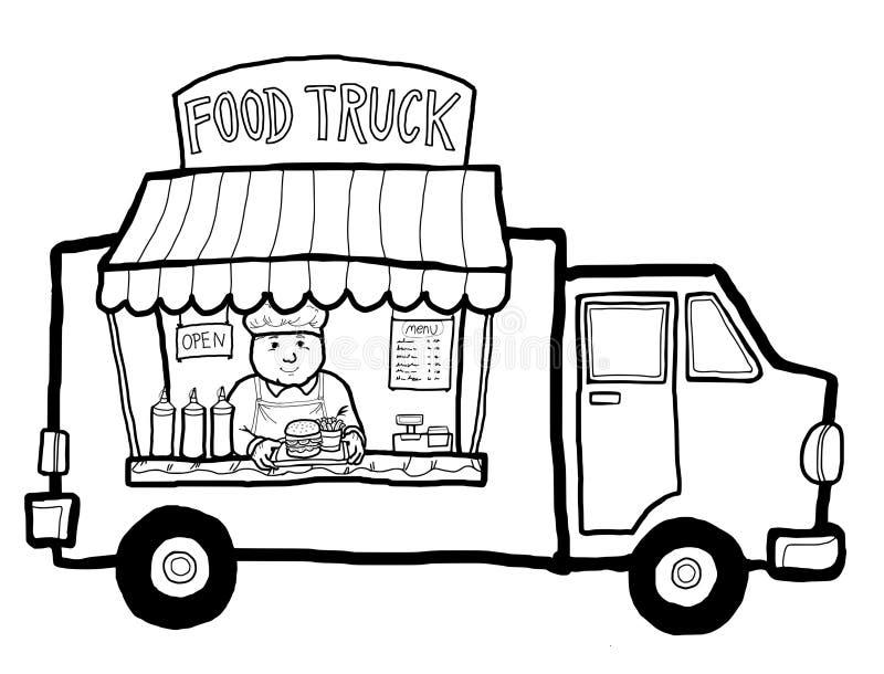 Camion dell'alimento della via illustrazione di stock