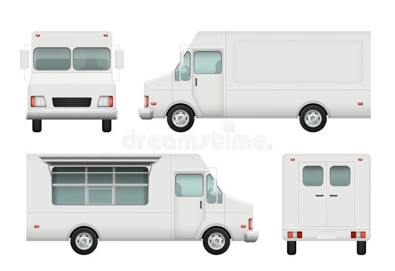 Camion dell'alimento realistico Automobile bianca delle immagini d'approvvigionamento di vettore 3d di consegna dell'alimento del illustrazione vettoriale