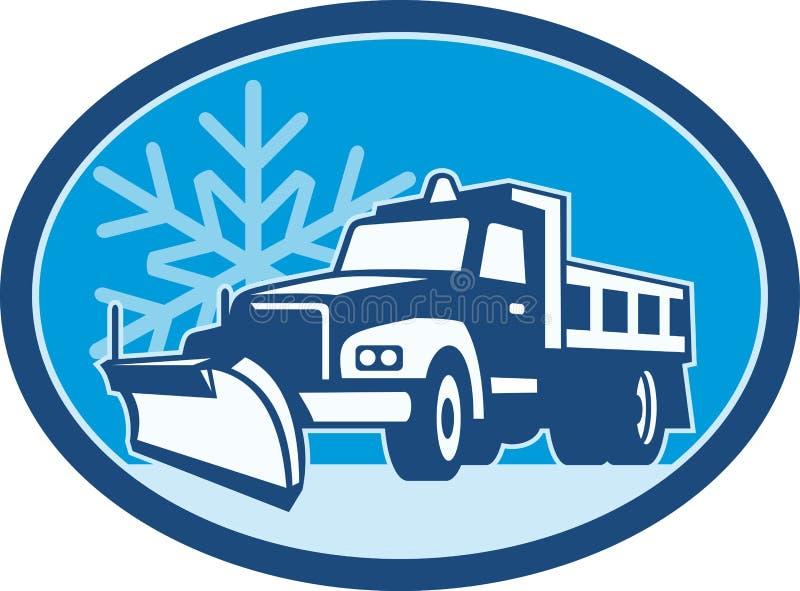 Camion dell'aratro di neve retro illustrazione vettoriale