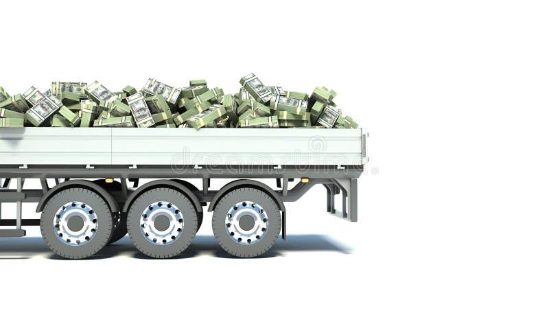 Camion dell'automobile con soldi isolati su fondo bianco immagine stock