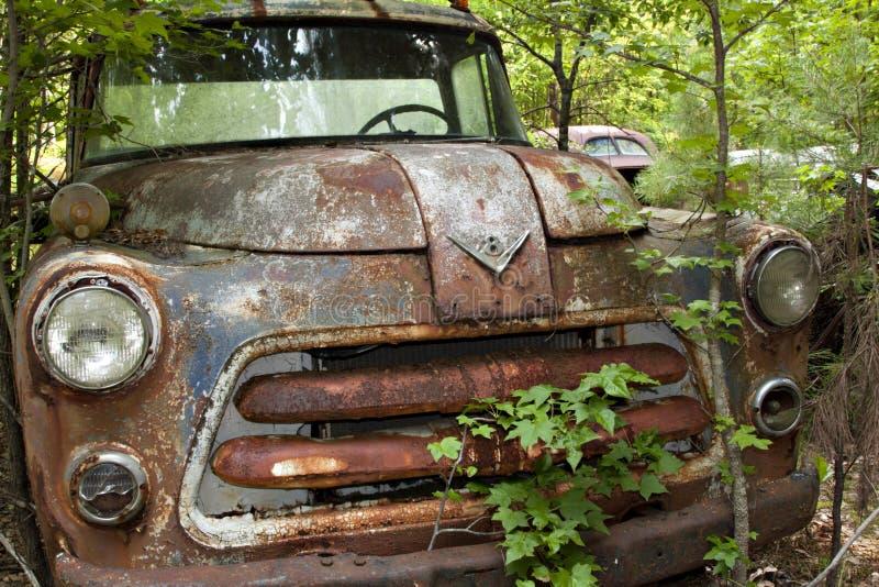 Camion dell'iarda di roba di rifiuto con gli alberi e le erbacce fotografia stock