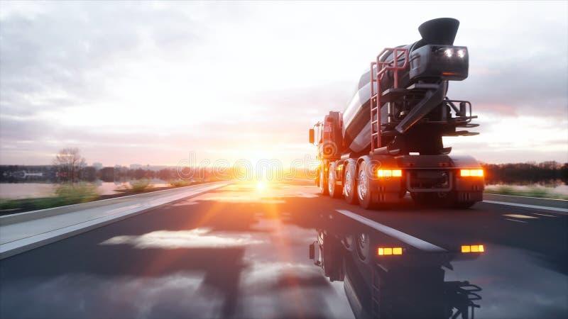Camion della betoniera sulla strada principale Azionamento molto veloce Concetto di trasporto e di costruzione rappresentazione 3 illustrazione vettoriale