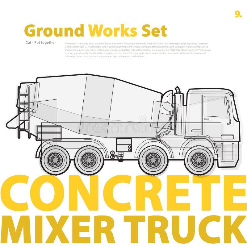 Camion della betoniera Tipografia fissata con la automatico-miscela Veicolo del macchinario di costruzione illustrazione vettoriale