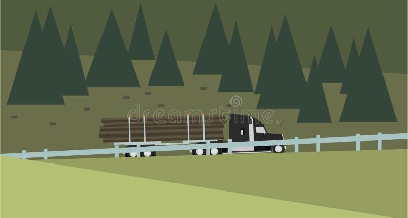 Camion della registrazione sopra Forest Background Illustrazione di vettore immagine stock libera da diritti
