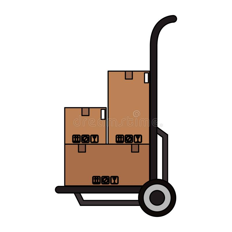 Camion delle caselle a disposizione illustrazione vettoriale