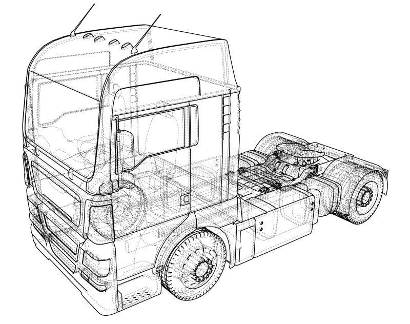 Camion di consegna commerciale del carico Isolato Illustrazione creata di 3d Cavo-struttura illustrazione vettoriale