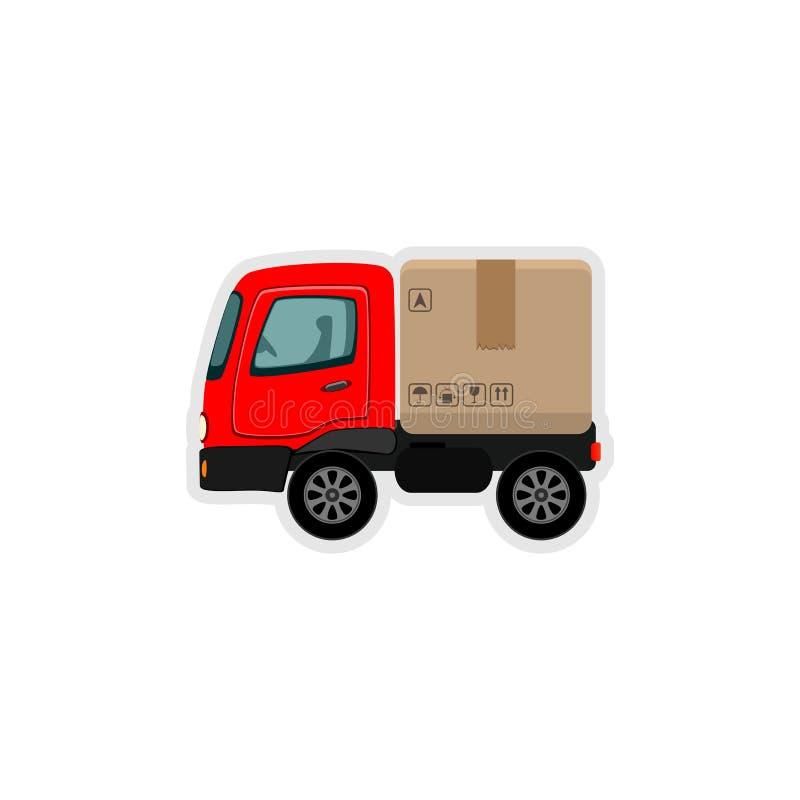 Camion di consegna con una scatola di cartone Concetto veloce di servizio di distribuzione Trasporto del carico Decisione variopi royalty illustrazione gratis