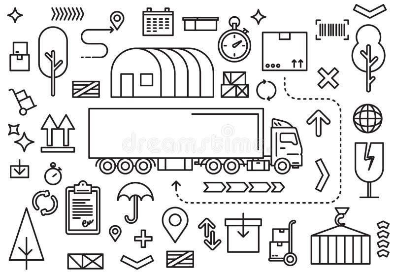 Camion di consegna del carico con il container isolato su fondo bianco Logistica dei trasporti, trasporto, consegna illustrazione vettoriale