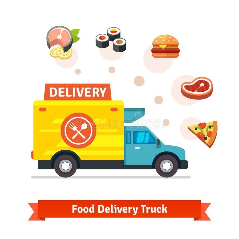Camion di consegna dell'alimento del ristorante con le icone del pasto illustrazione di stock