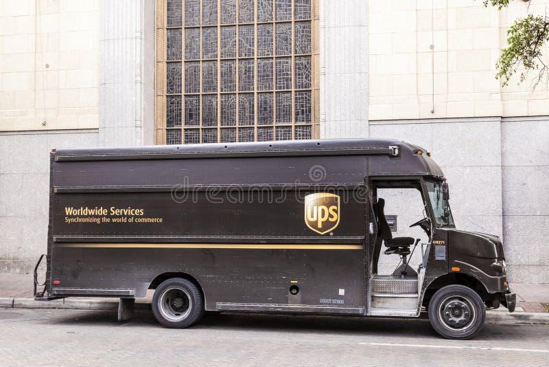 Camion di consegna di UPS negli Stati Uniti fotografia stock