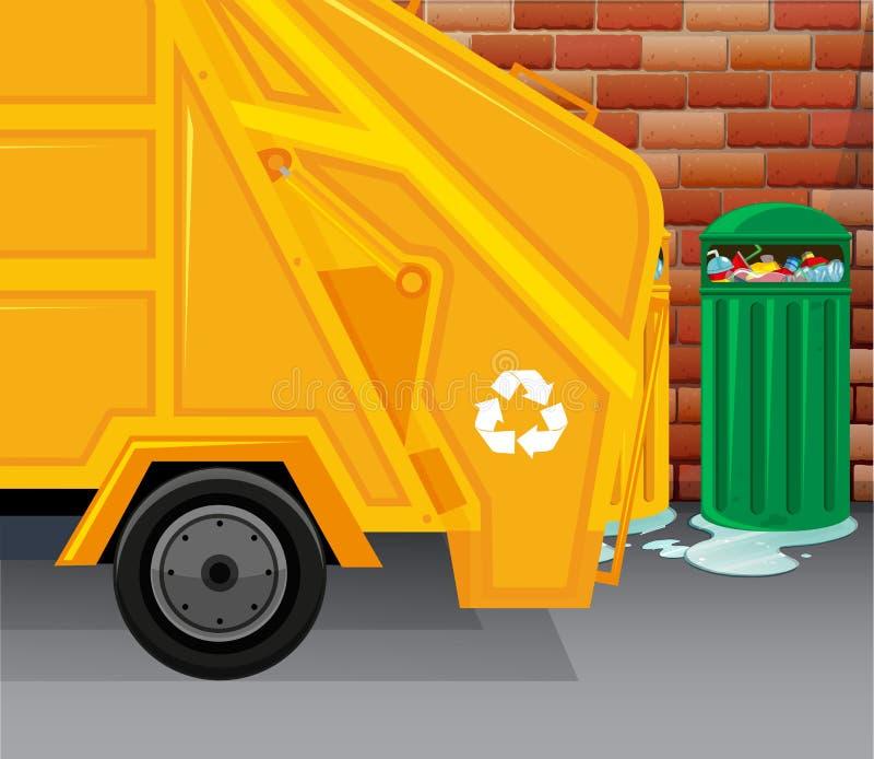 Camion di immondizia che prende rifiuti illustrazione vettoriale
